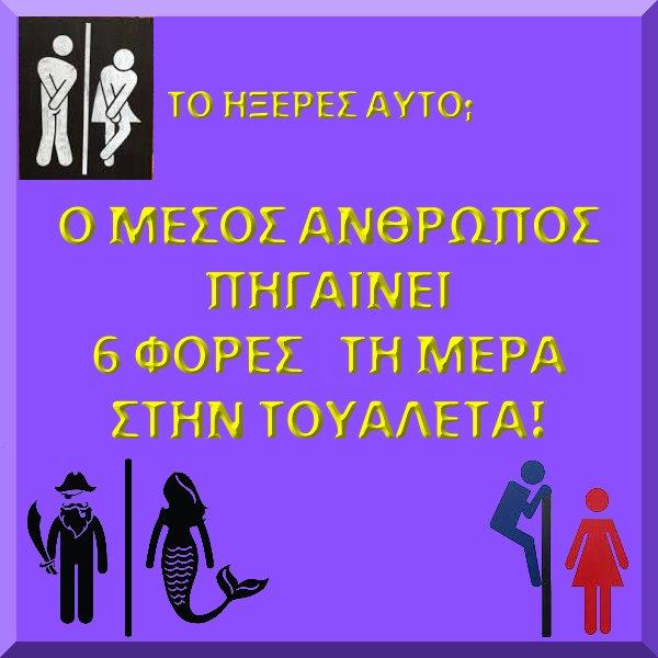 6 ΦΟΡΕΣ ΤΗ ΜΕΡΑ ΚΑΤΑ ΜΕΣΟ ΟΡΟ ΣΤΟ WC
